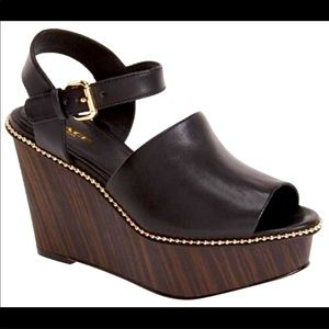 Coach Harla black leather wedge sandals